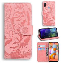 Intricate Embossing Tiger Face Leather Wallet Case for Samsung Galaxy M11 - Pink