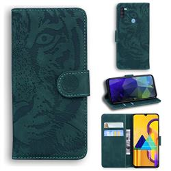 Intricate Embossing Tiger Face Leather Wallet Case for Samsung Galaxy M11 - Green