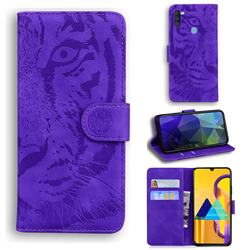 Intricate Embossing Tiger Face Leather Wallet Case for Samsung Galaxy M11 - Purple