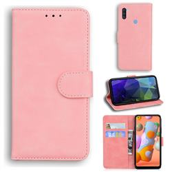 Retro Classic Skin Feel Leather Wallet Phone Case for Samsung Galaxy M11 - Pink