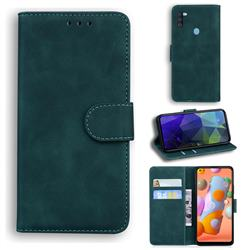 Retro Classic Skin Feel Leather Wallet Phone Case for Samsung Galaxy M11 - Green