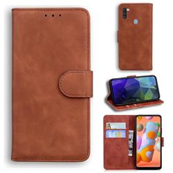 Retro Classic Skin Feel Leather Wallet Phone Case for Samsung Galaxy M11 - Brown