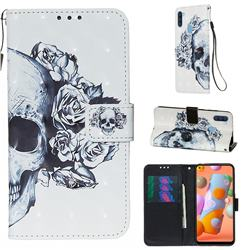 Skull Flower 3D Painted Leather Wallet Case for Samsung Galaxy M11