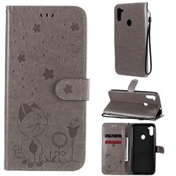Embossing Bee and Cat Leather Wallet Case for Samsung Galaxy M11 - Gray