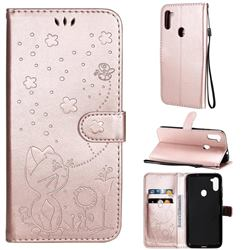 Embossing Bee and Cat Leather Wallet Case for Samsung Galaxy M11 - Rose Gold