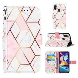 Pink White Stitching Color Marble Leather Wallet Case for Samsung Galaxy M11