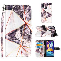 Black and White Stitching Color Marble Leather Wallet Case for Samsung Galaxy M11