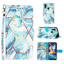 Lake Blue Stitching Color Marble Leather Wallet Case for Samsung Galaxy M11