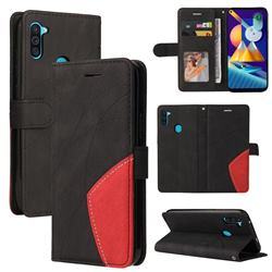 Luxury Two-color Stitching Leather Wallet Case Cover for Samsung Galaxy M11 - Black