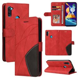 Luxury Two-color Stitching Leather Wallet Case Cover for Samsung Galaxy M11 - Red
