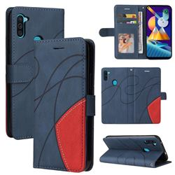 Luxury Two-color Stitching Leather Wallet Case Cover for Samsung Galaxy M11 - Blue