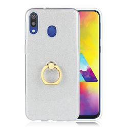 Luxury Soft TPU Glitter Back Ring Cover with 360 Rotate Finger Holder Buckle for Samsung Galaxy M20 - White