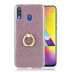 Luxury Soft TPU Glitter Back Ring Cover with 360 Rotate Finger Holder Buckle for Samsung Galaxy M20 - Pink