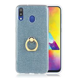 Luxury Soft TPU Glitter Back Ring Cover with 360 Rotate Finger Holder Buckle for Samsung Galaxy M20 - Blue