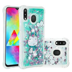Tiny Unicorn Dynamic Liquid Glitter Sand Quicksand Star TPU Case for Samsung Galaxy M20