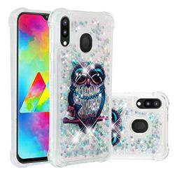 Sweet Gray Owl Dynamic Liquid Glitter Sand Quicksand Star TPU Case for Samsung Galaxy M20