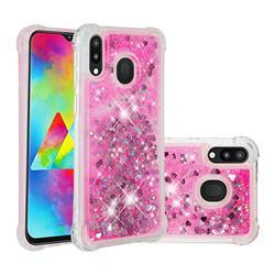 Dynamic Liquid Glitter Sand Quicksand TPU Case for Samsung Galaxy M20 - Pink Love Heart