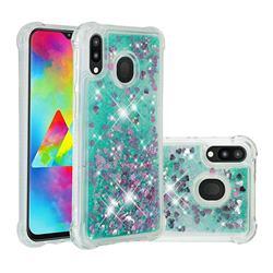 Dynamic Liquid Glitter Sand Quicksand TPU Case for Samsung Galaxy M20 - Green Love Heart