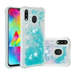 Dynamic Liquid Glitter Sand Quicksand TPU Case for Samsung Galaxy M20 - Silver Blue Star