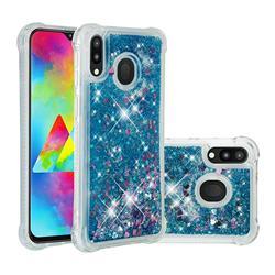 Dynamic Liquid Glitter Sand Quicksand TPU Case for Samsung Galaxy M20 - Blue Love Heart