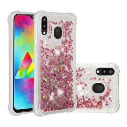 Dynamic Liquid Glitter Sand Quicksand TPU Case for Samsung Galaxy M20 - Rose Gold Love Heart