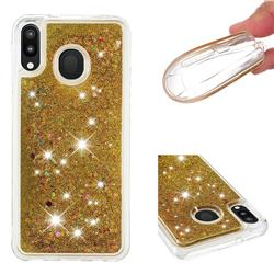 Dynamic Liquid Glitter Quicksand Sequins TPU Phone Case for Samsung Galaxy M20 - Golden
