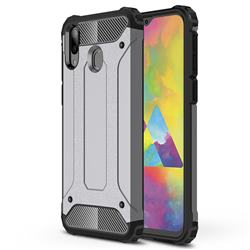 King Kong Armor Premium Shockproof Dual Layer Rugged Hard Cover for Samsung Galaxy M20 - Silver Grey