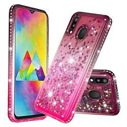 Diamond Frame Liquid Glitter Quicksand Sequins Phone Case for Samsung Galaxy M20 - Gray Pink