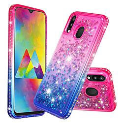 Diamond Frame Liquid Glitter Quicksand Sequins Phone Case for Samsung Galaxy M20 - Pink Blue