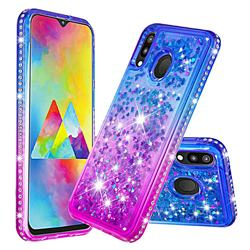 Diamond Frame Liquid Glitter Quicksand Sequins Phone Case for Samsung Galaxy M20 - Blue Purple