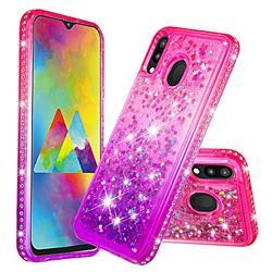 Diamond Frame Liquid Glitter Quicksand Sequins Phone Case for Samsung Galaxy M20 - Pink Purple