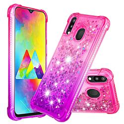 Rainbow Gradient Liquid Glitter Quicksand Sequins Phone Case for Samsung Galaxy M20 - Pink Purple