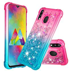 Rainbow Gradient Liquid Glitter Quicksand Sequins Phone Case for Samsung Galaxy M20 - Pink Blue