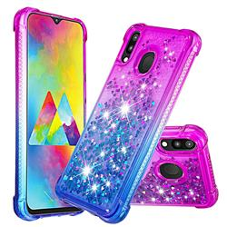 Rainbow Gradient Liquid Glitter Quicksand Sequins Phone Case for Samsung Galaxy M20 - Purple Blue