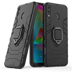 Black Panther Armor Metal Ring Grip Shockproof Dual Layer Rugged Hard Cover for Samsung Galaxy M20 - Black