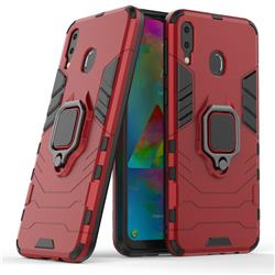 Black Panther Armor Metal Ring Grip Shockproof Dual Layer Rugged Hard Cover for Samsung Galaxy M20 - Red