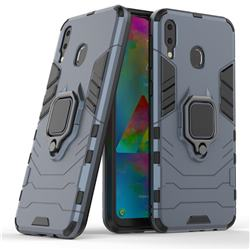 Black Panther Armor Metal Ring Grip Shockproof Dual Layer Rugged Hard Cover for Samsung Galaxy M20 - Blue