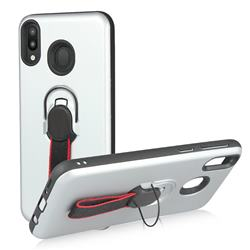 Raytheon Multi-function Ribbon Stand Back Cover for Samsung Galaxy M20 - Silver