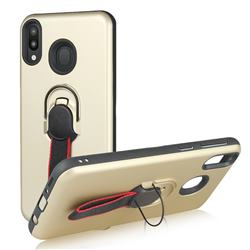 Raytheon Multi-function Ribbon Stand Back Cover for Samsung Galaxy M20 - Golden