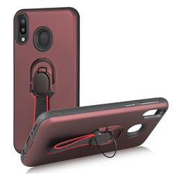 Raytheon Multi-function Ribbon Stand Back Cover for Samsung Galaxy M20 - Wine Red