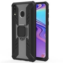 Predator Armor Metal Ring Grip Shockproof Dual Layer Rugged Hard Cover for Samsung Galaxy M20 - Black