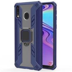 Predator Armor Metal Ring Grip Shockproof Dual Layer Rugged Hard Cover for Samsung Galaxy M20 - Blue