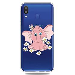 Tiny Pink Elephant Clear Varnish Soft Phone Back Cover for Samsung Galaxy M20