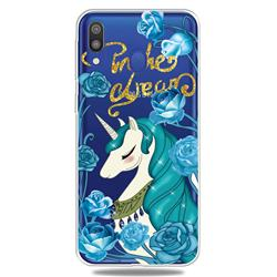 Blue Flower Unicorn Clear Varnish Soft Phone Back Cover for Samsung Galaxy M20