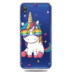 Glasses Unicorn Clear Varnish Soft Phone Back Cover for Samsung Galaxy M20