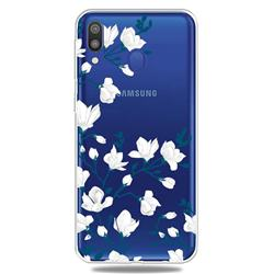 Magnolia Flower Clear Varnish Soft Phone Back Cover for Samsung Galaxy M20