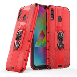 Alita Battle Angel Armor Metal Ring Grip Shockproof Dual Layer Rugged Hard Cover for Samsung Galaxy M20 - Red