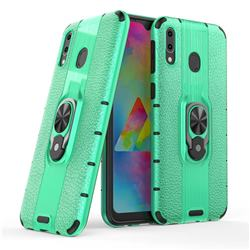 Alita Battle Angel Armor Metal Ring Grip Shockproof Dual Layer Rugged Hard Cover for Samsung Galaxy M20 - Green