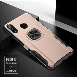 Knight Armor Anti Drop PC + Silicone Invisible Ring Holder Phone Cover for Samsung Galaxy M20 - Rose Gold
