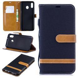 Jeans Cowboy Denim Leather Wallet Case for Samsung Galaxy M20 - Black